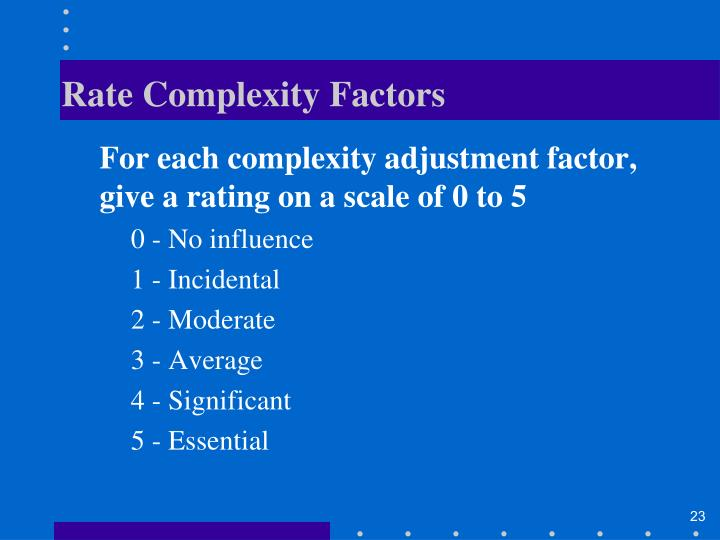 Rate Complexity Factors
