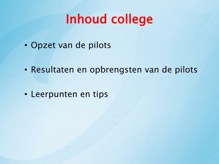Inhoud college