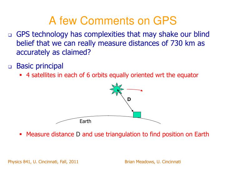 A few Comments on GPS