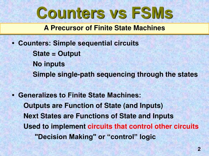 Counters vs fsms