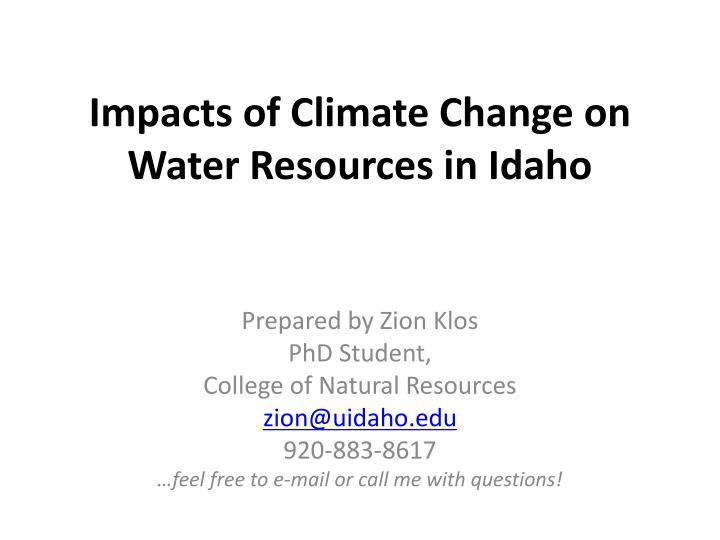 Impacts of Climate Change on Water Resources in Idaho