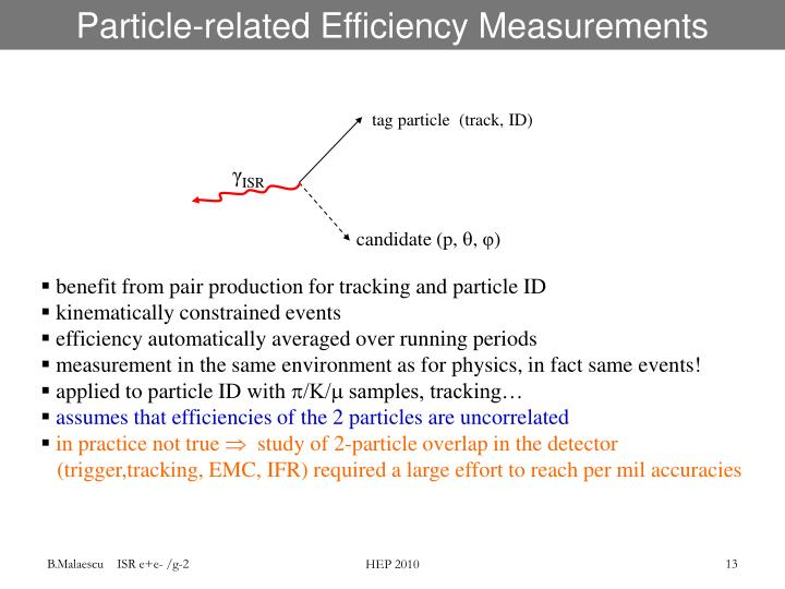 Particle-related Efficiency Measurements