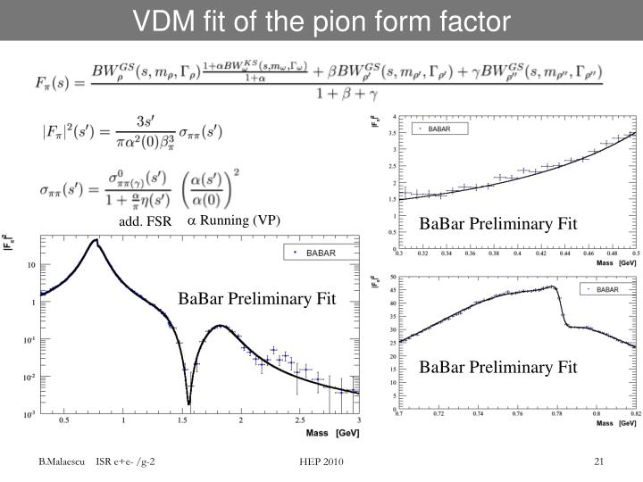 VDM fit of the pion form factor