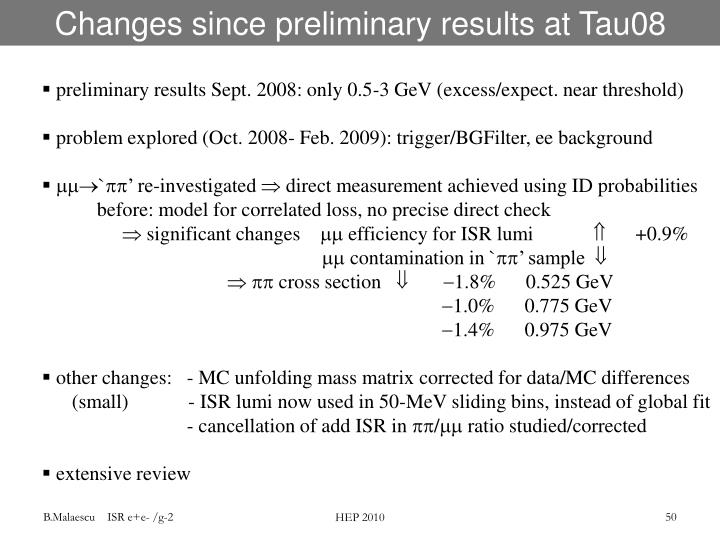 Changes since preliminary results at Tau08