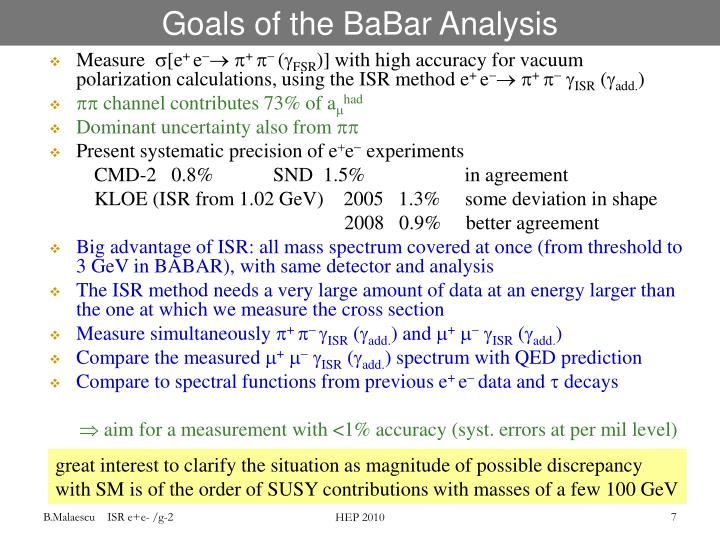 Goals of the BaBar Analysis
