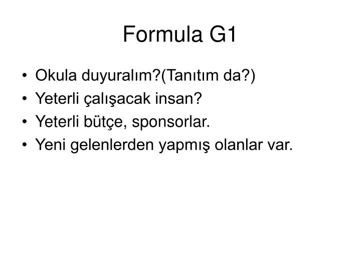 Formula G1