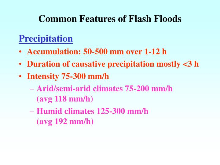 Common Features of Flash Floods