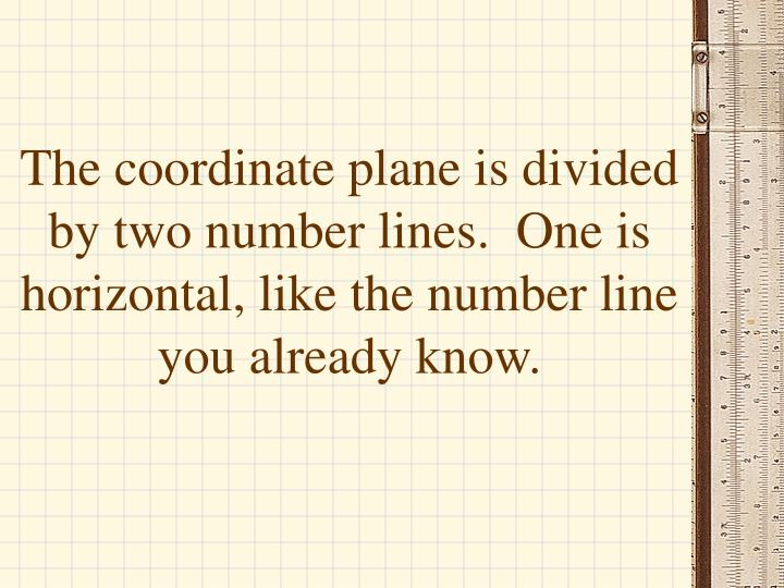 The coordinate plane is divided by two number lines.  One is horizontal, like the number line you already know.
