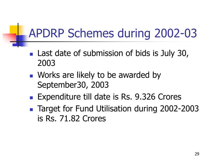 APDRP Schemes during 2002-03