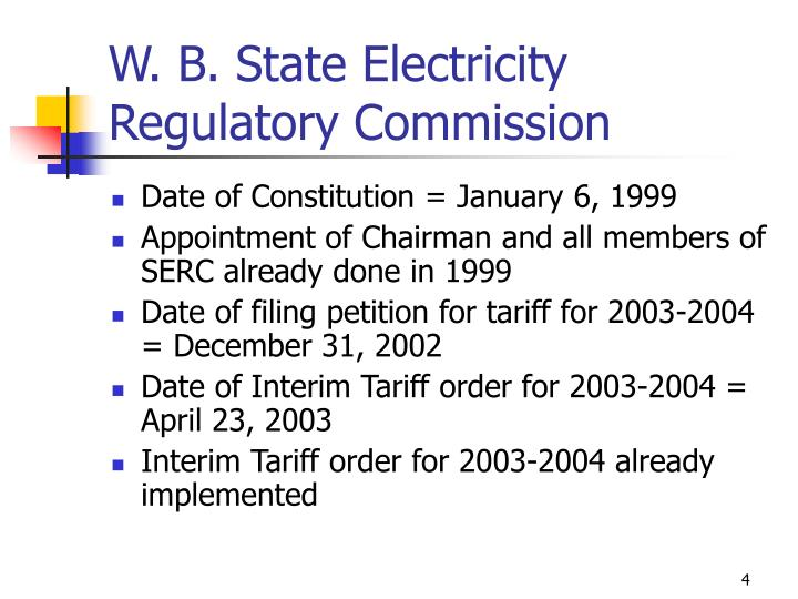 W. B. State Electricity Regulatory Commission