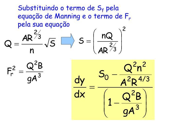 Substituindo o termo de S