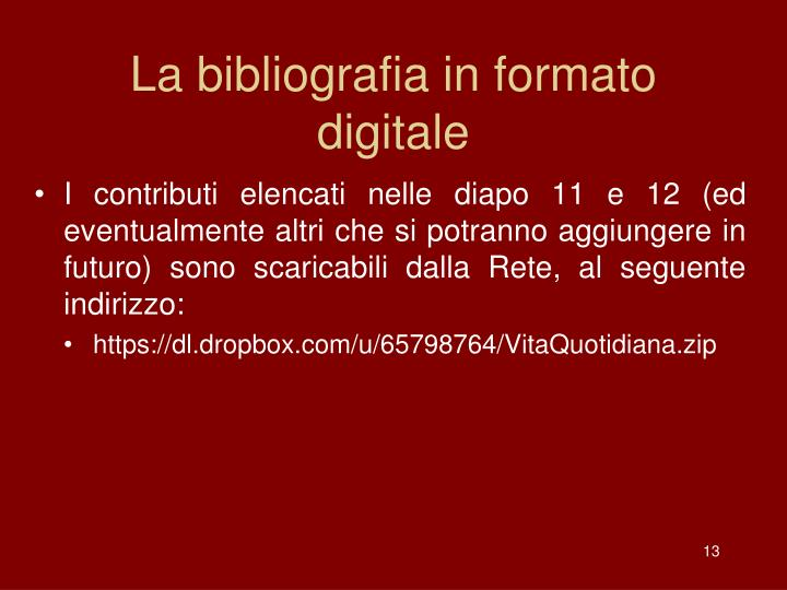 La bibliografia in formato digitale