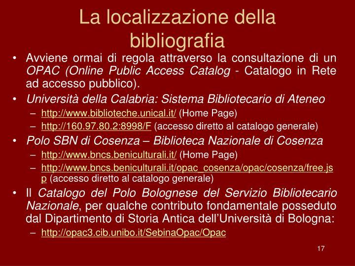 La localizzazione della bibliografia