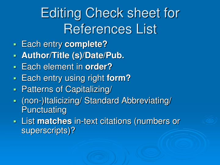 Editing Check sheet for References List