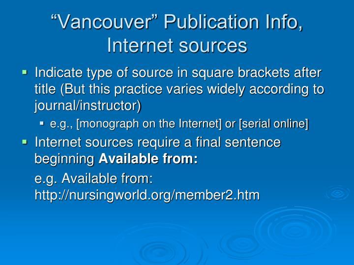 """""""Vancouver"""" Publication Info,"""
