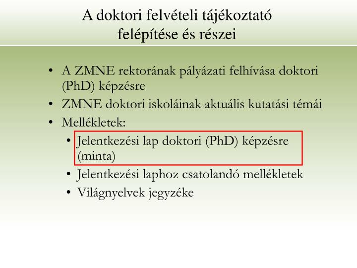 A doktori felvételi tájékoztató