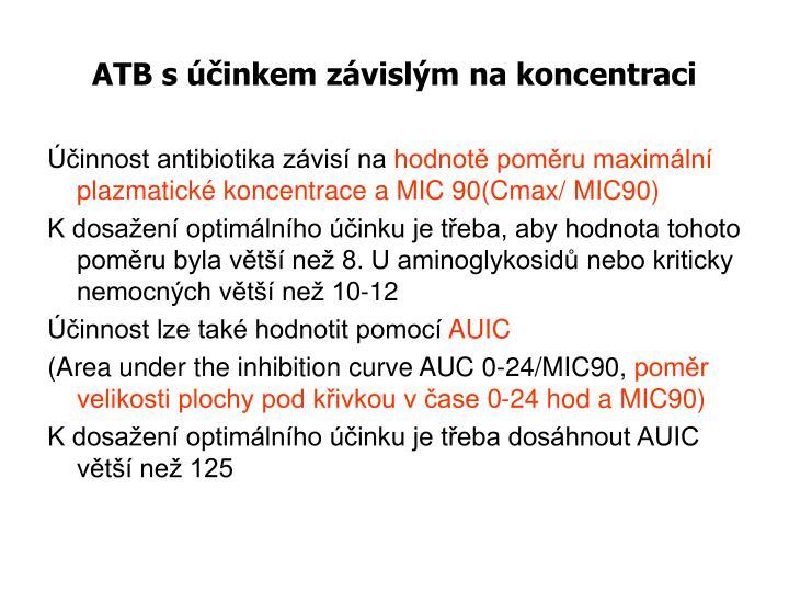 ATB s účinkem závislým na koncentraci