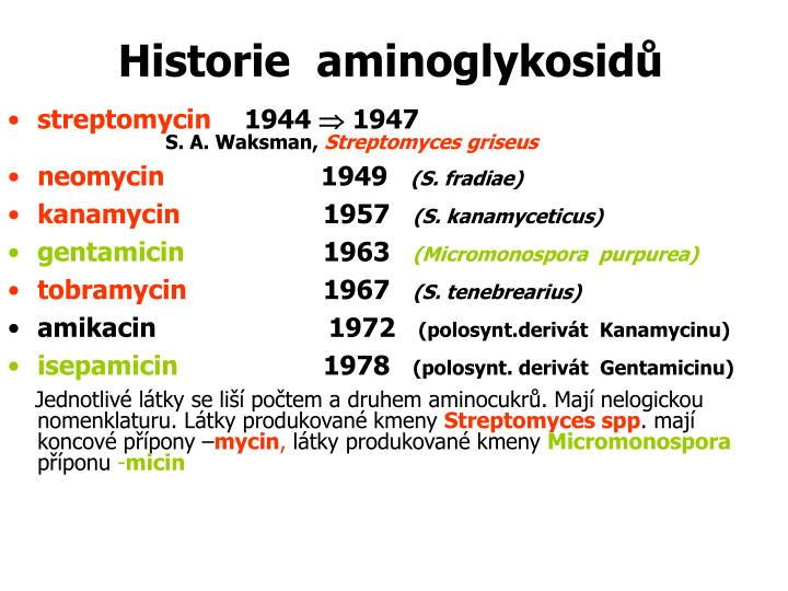 Historie  aminoglykosidů