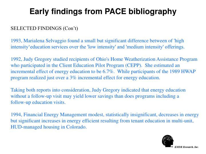 Early findings from PACE bibliography