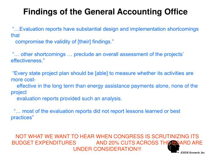 Findings of the General Accounting Office