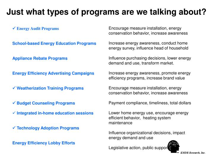 Just what types of programs are we talking about?