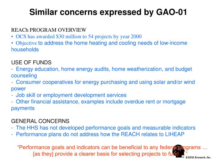 Similar concerns expressed by GAO-01