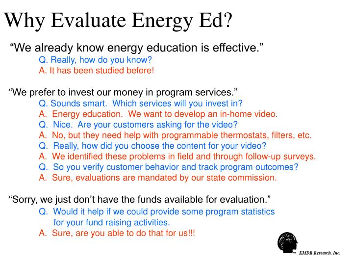 Why Evaluate Energy Ed?