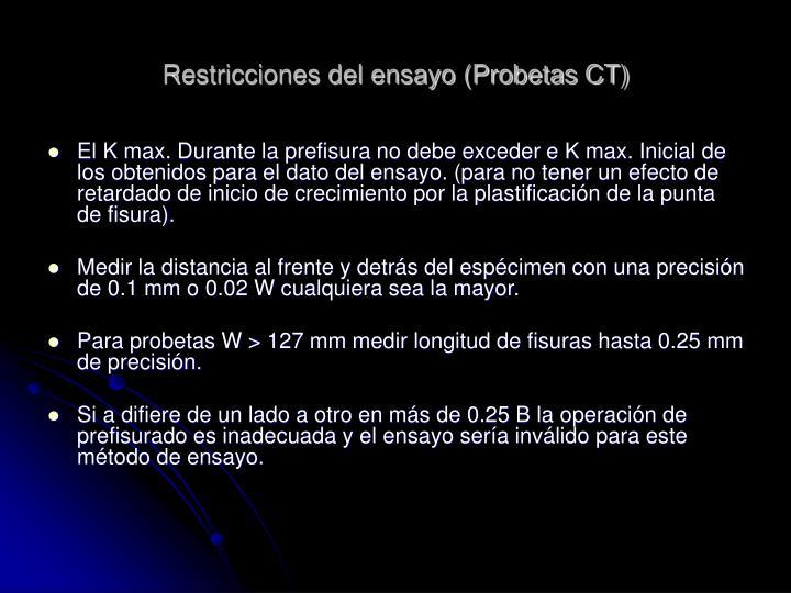 Restricciones del ensayo (Probetas CT)
