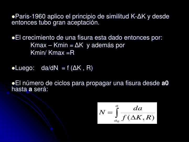 Paris-1960 aplico el principio de similitud K-