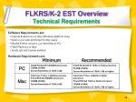 flkrs k 2 est overview technical requirements