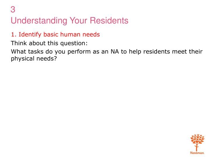 1. Identify basic human needs