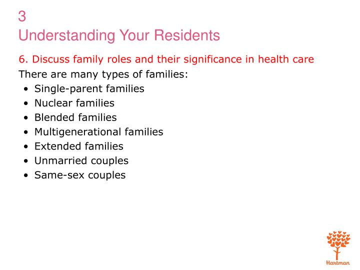 6. Discuss family roles and their significance in health care
