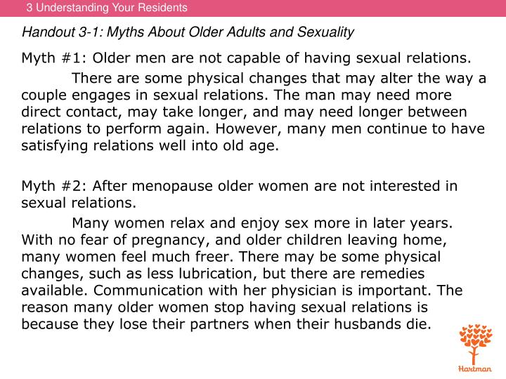 Handout 3-1: Myths About Older Adults and Sexuality