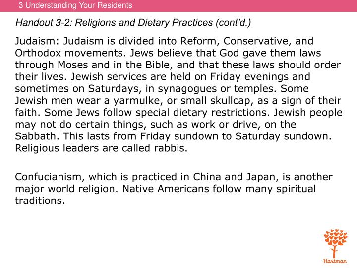Handout 3-2: Religions and Dietary Practices (cont'd.)