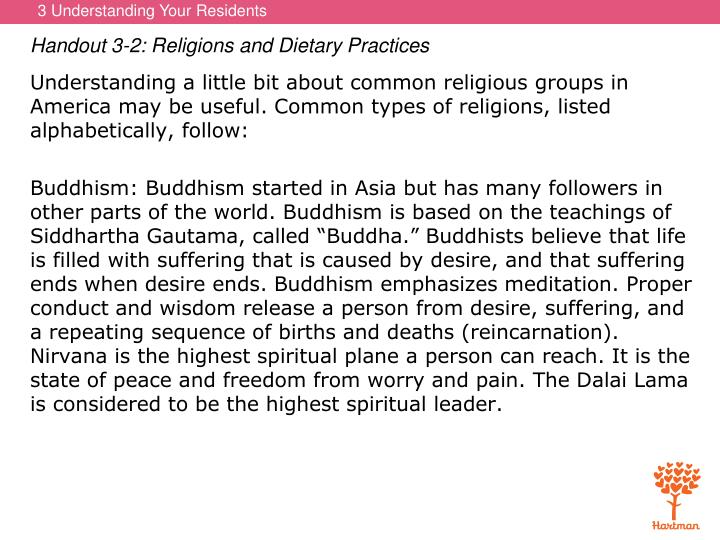 Handout 3-2: Religions and Dietary Practices