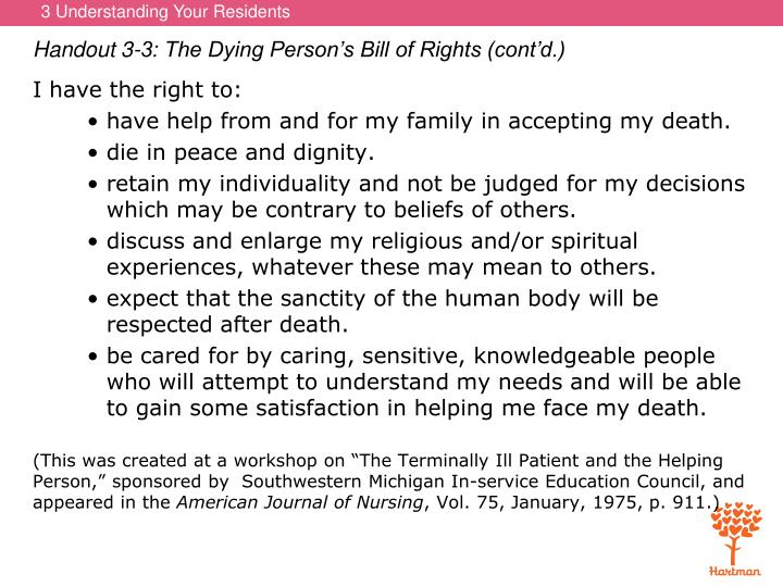 Handout 3-3: The Dying Person's Bill of Rights (cont'd.)