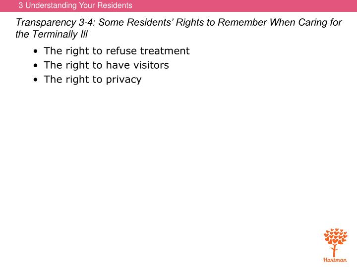Transparency 3-4: Some Residents' Rights to Remember When Caring for the Terminally Ill