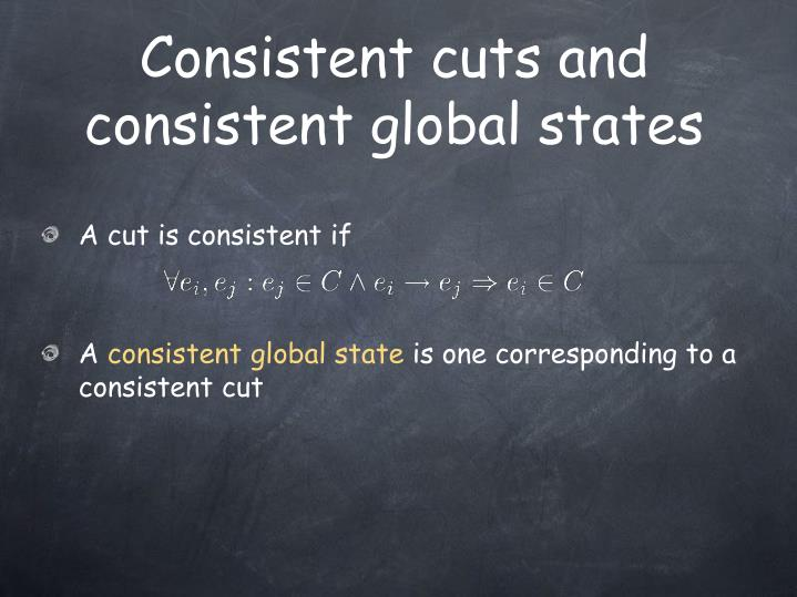 Consistent cuts and consistent global states