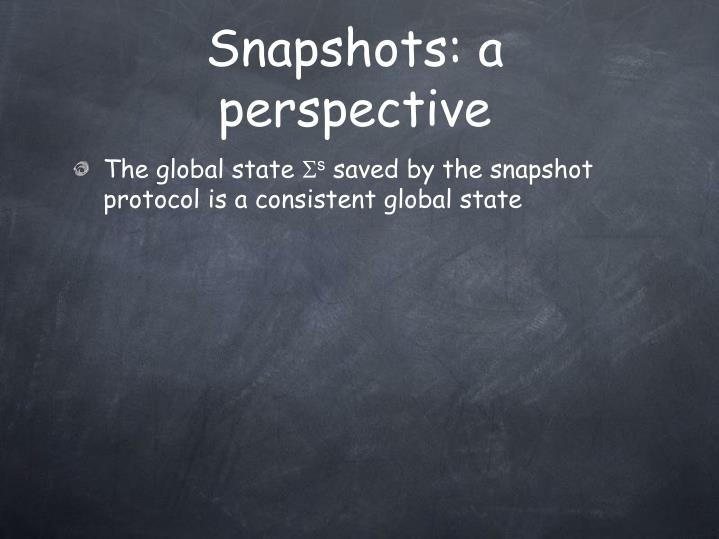 Snapshots: a perspective