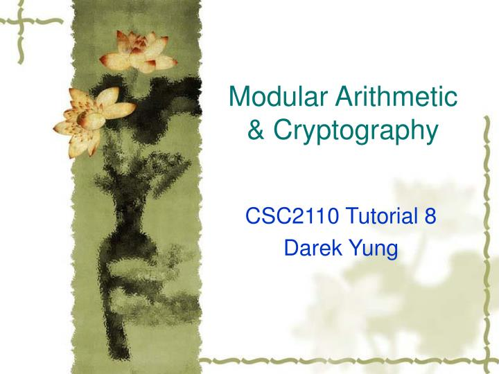 Modular arithmetic cryptography