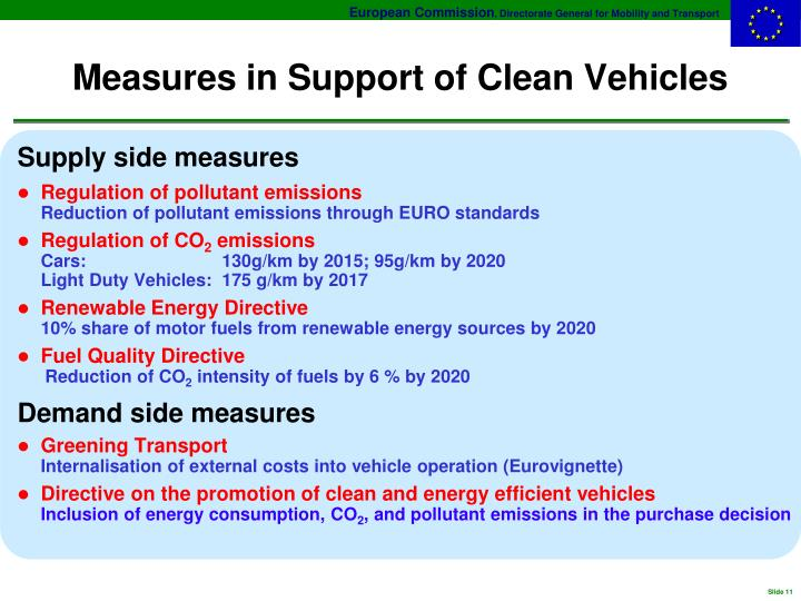 Measures in Support of Clean Vehicles