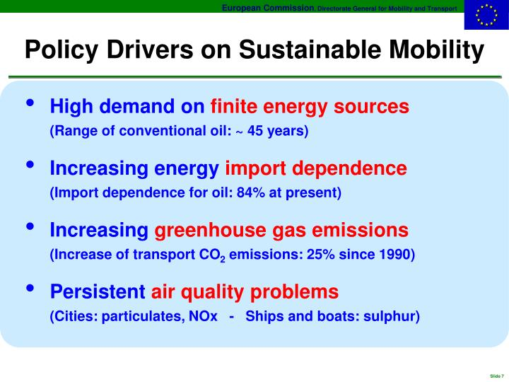 Policy Drivers on Sustainable Mobility