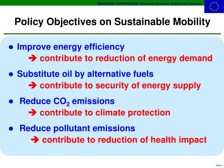 Policy Objectives on Sustainable Mobility