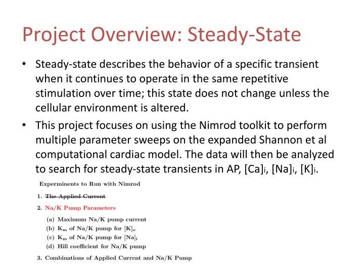 Project overview steady state