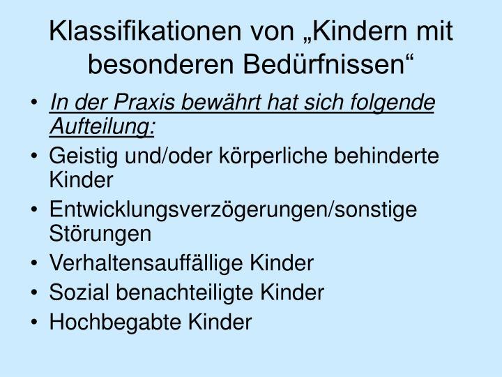 """Klassifikationen von """"Kindern mit besonderen Bedürfnissen"""""""
