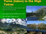 tarns lakes in the high tatras