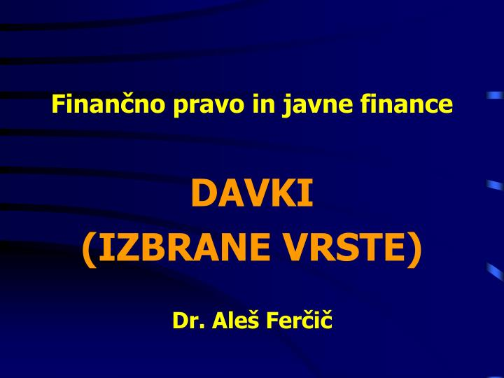 Finan no pravo in javne finance
