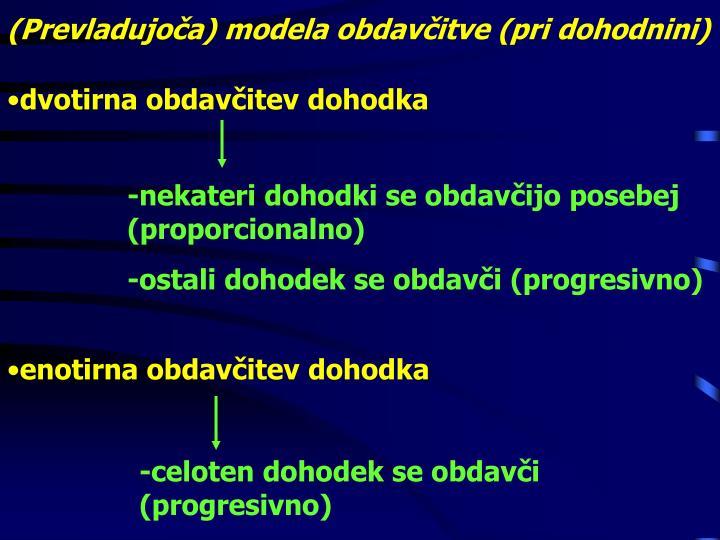 (Prevladujoča) modela obdavčitve (pri dohodnini)