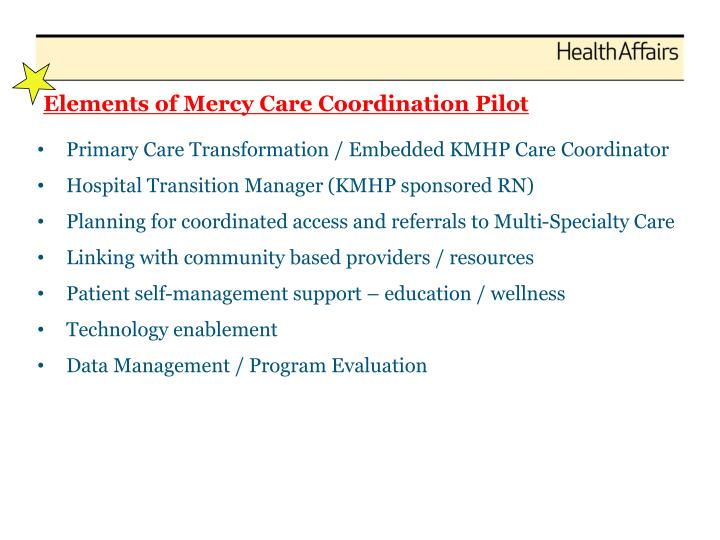 Elements of Mercy Care Coordination Pilot