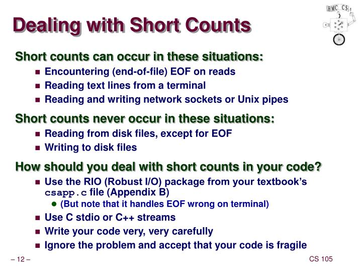 Dealing with Short Counts